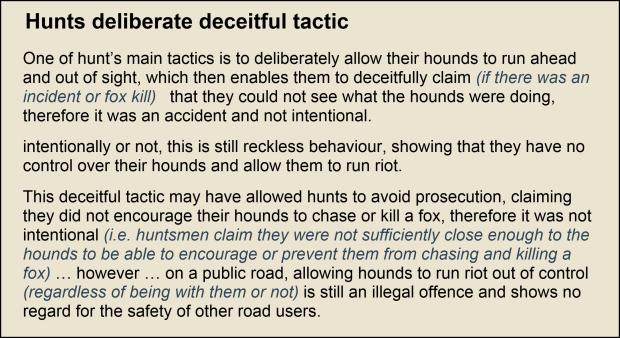 Hunts deceitful tactic