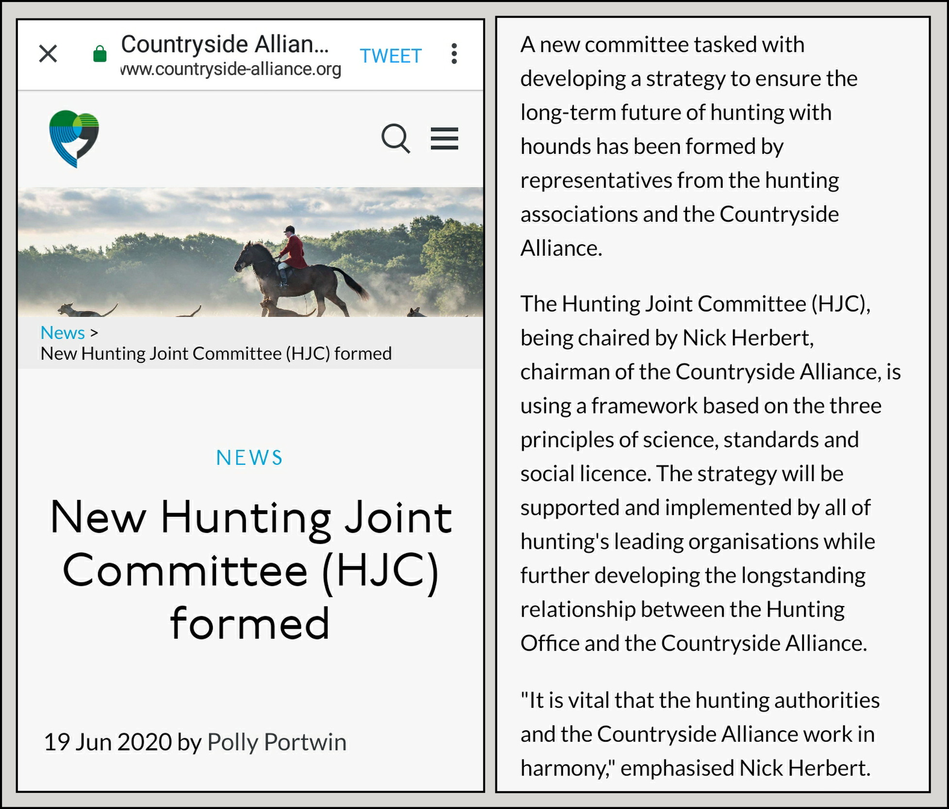 CA - Joint Hunting Committee formed