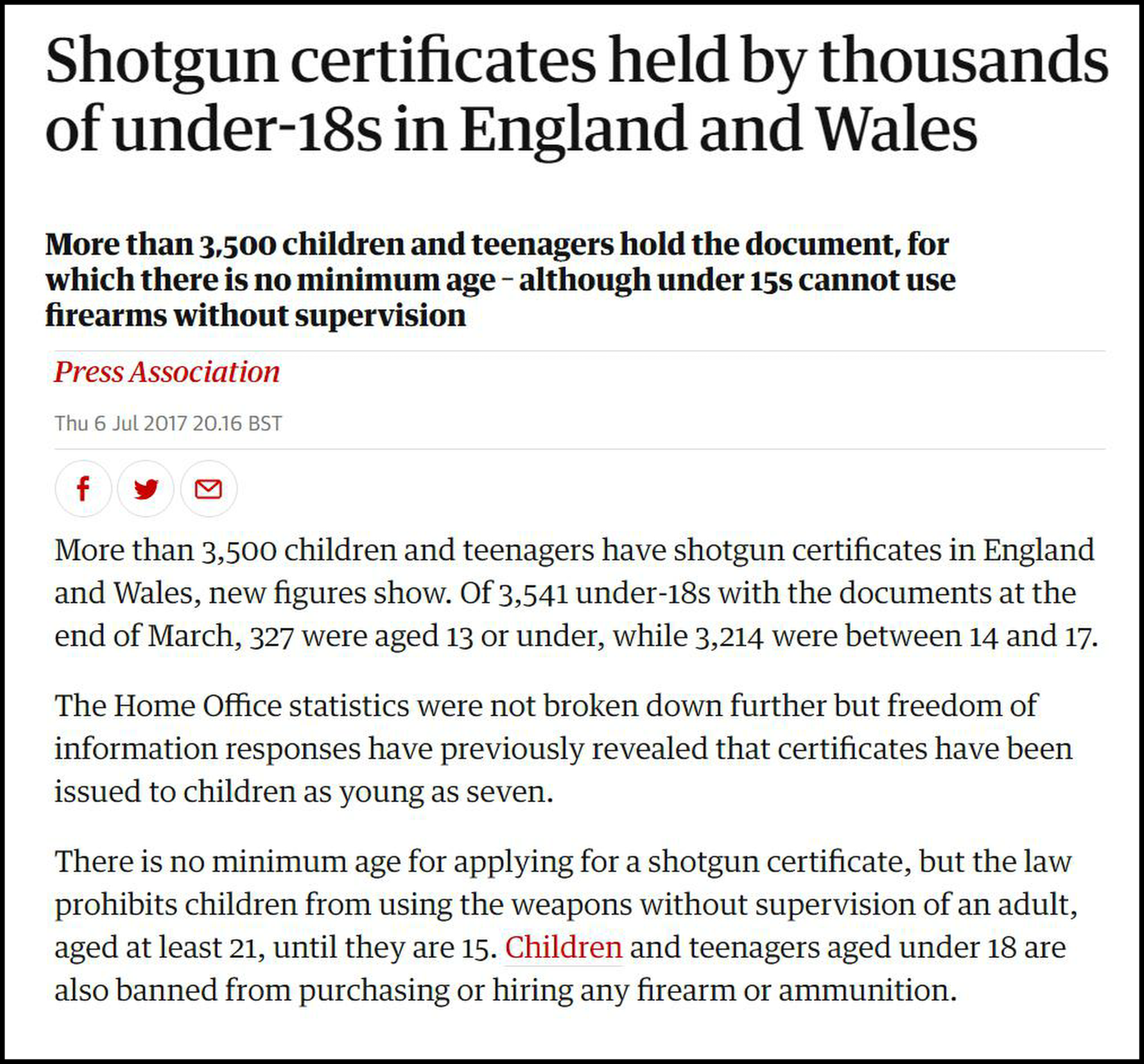 Kids with guns - Press Association