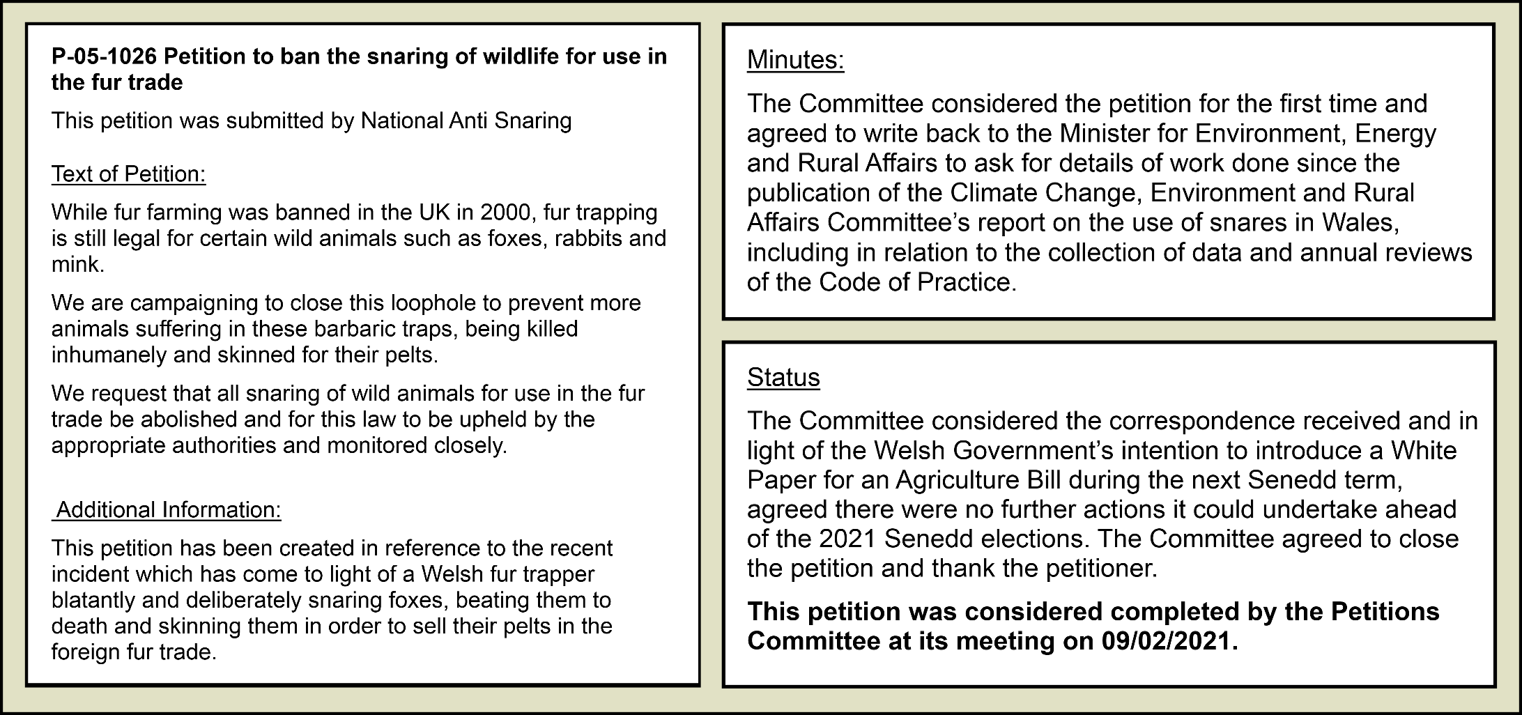 Petitions Committee - response
